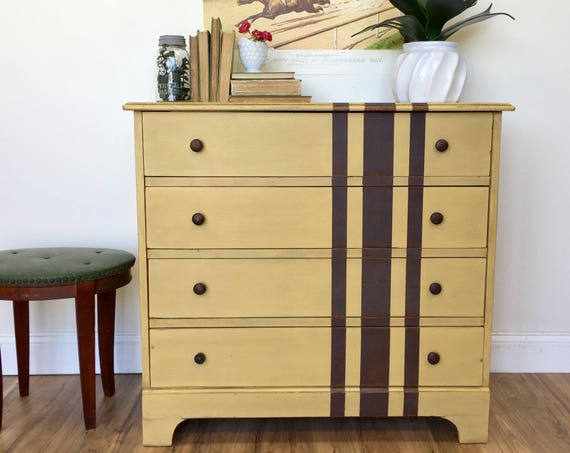 Rustic Yellow Dresser Four Drawer Chest