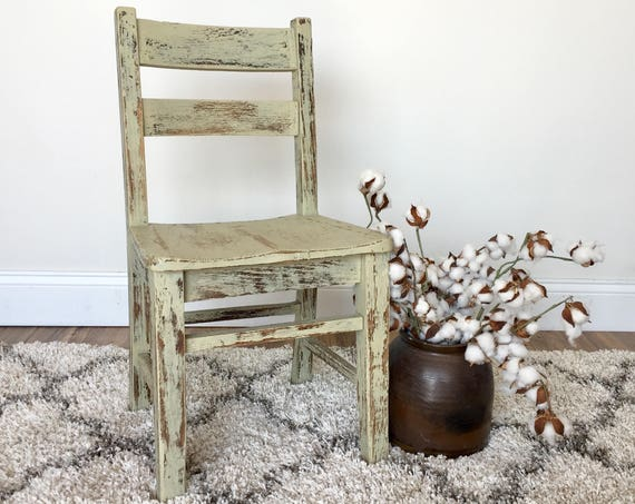 Desk Chair for Kids - Toddler Furniture - Toddler Desk Chair - Vintage School Chair - Distressed Chair - Playroom Furniture - Small Chair