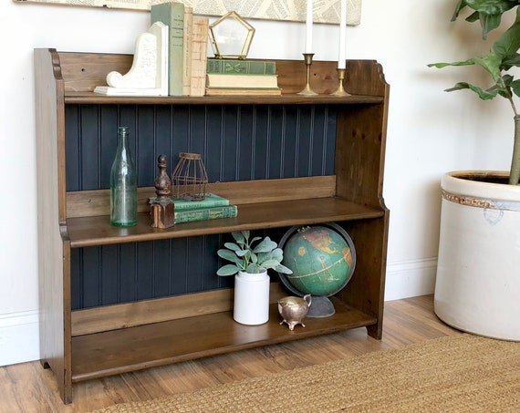 Small Black Bookcase for Nursery Room or Kids Bedroom - Distressed Painted Bookshelf - Real Wood Furniture - Wooden Bookcase