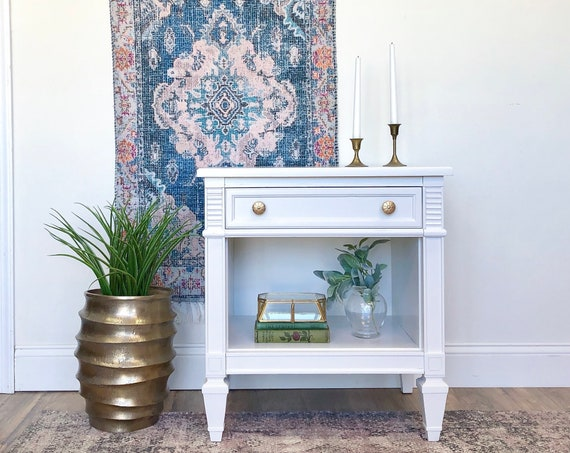 White Vintage Nightstand Hollywood Regency Style