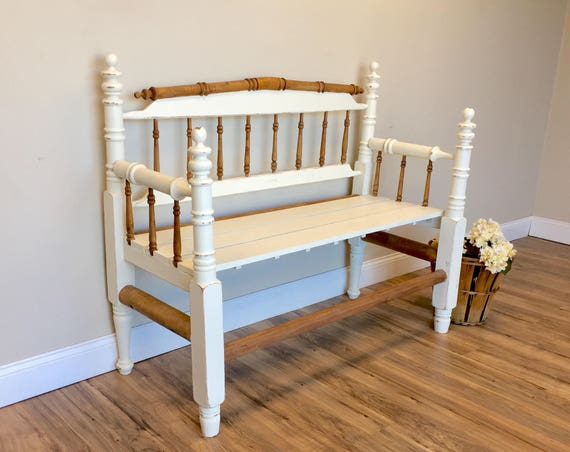 White Antique Entryway Bench - Primitive Wooden Spindle Furniture