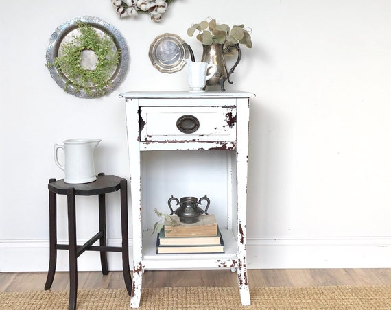 Small White Nightstand or Rustic End Table