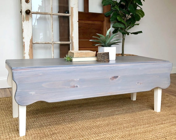 Grey Wood Folding Coffee Table - Coastal or Farmhouse Furniture