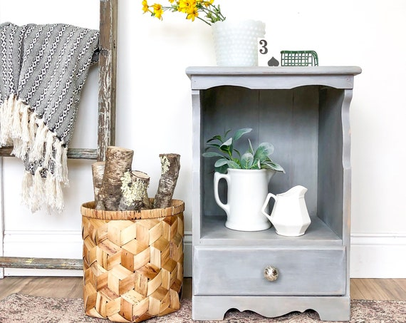 Small Gray Nightstand Painted Distressed Furniture