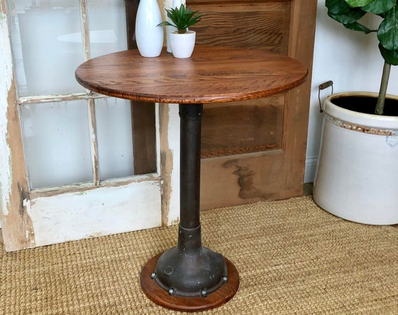Industrial Bistro Table - Small Round Accent Table - Industrial Dining Table - Upcycled Furniture