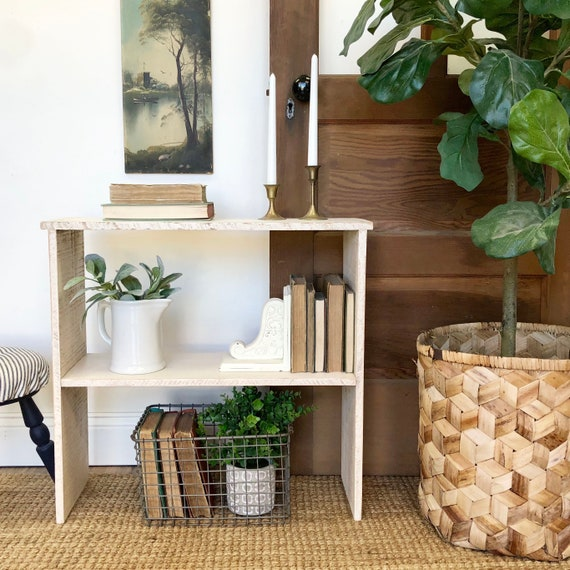 White Wood Bookshelf - Rustic Farmhouse Decor - Shoe Storage Rack - Distressed Furniture