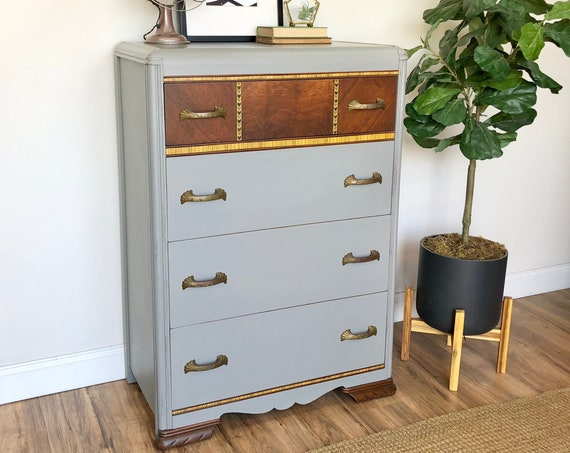 Vintage Art Deco Waterfall Dresser - Gray Chest of Drawer - Distressed Furniture