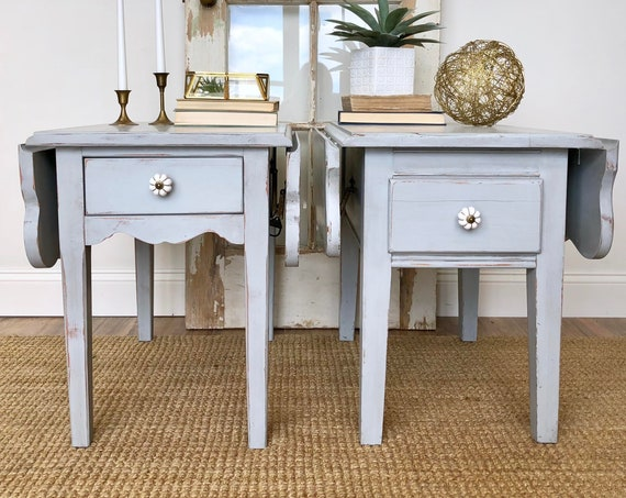 Pair of Blue Gray Distressed End Tables - Small Living Room Tables - Pair of Nightstands - Narrow Drop Leaf Side - Tables Cottage Furniture