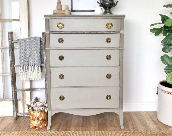 Gray Painted Dresser Federal Style Furniture - Vintage Chest of Drawers