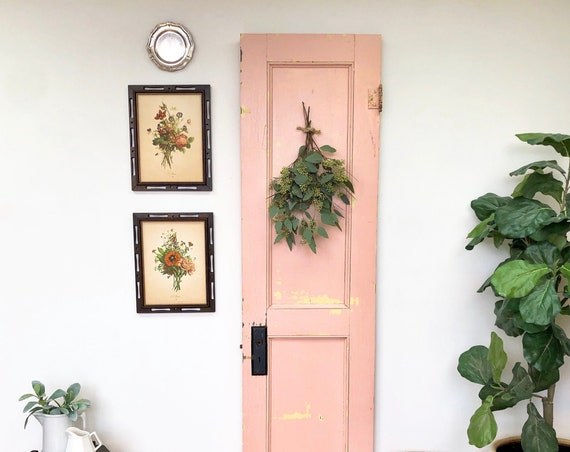 Decorative Door - Rustic Country Home Decor - Architectural Antique - Pink Farmhouse Door - Photo Prop