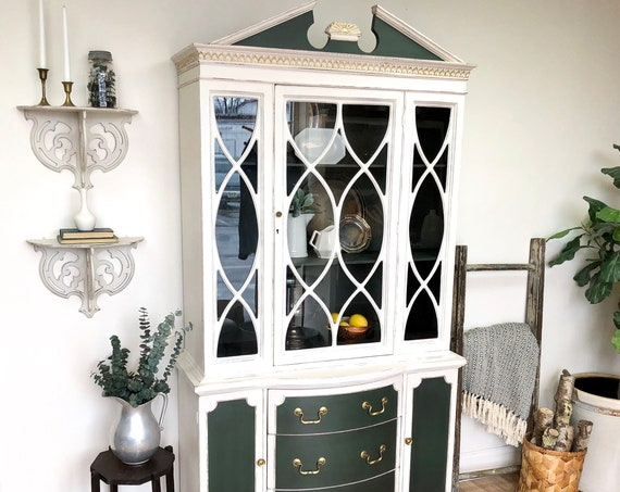 White China Cabinet Federal Style Bookcase or Liquor Storage Cabinet - Distressed Furniture