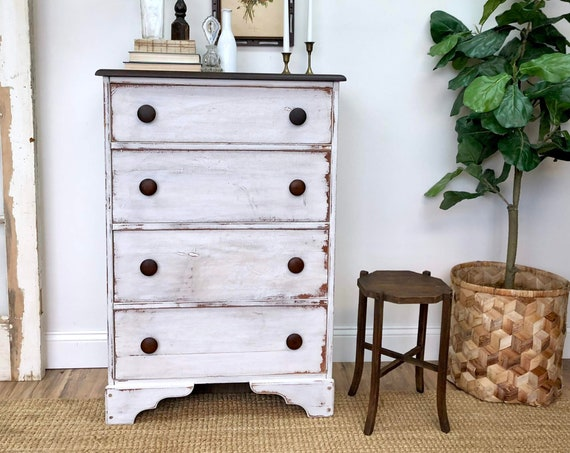 Distressed White Dresser - Rustic Farmhouse Furniture - Tall Chest of Drawers - Country Furniture
