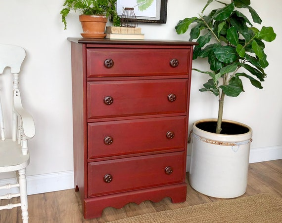Red Dresser - Distressed Furniture - Rustic 4 Drawer Dresser - Painted Furniture - Farmhouse Dresser - Bedroom Chest of Drawers - Tallboy