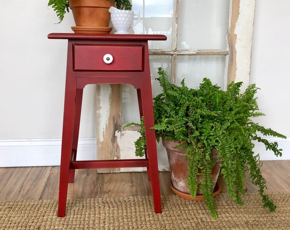 Red Distressed End Table or Bedside Nightstand Table