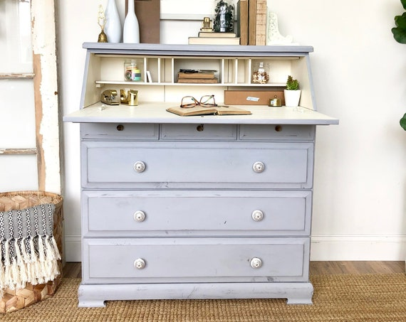 Vintage Secretary Desk with Drawers - Rustic Painted Wood Furniture