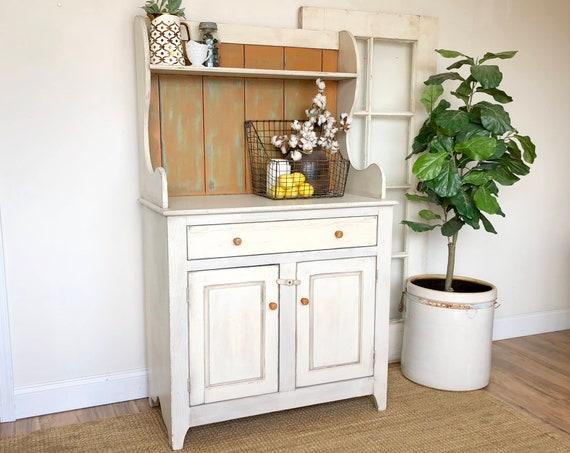 Farmhouse Hutch - Fixer Upper Furniture - White Cabinet - Farmhouse Furniture - Antique China Hutch - Country Cottage Furniture