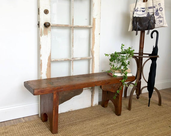 Rustic Wooden Bench - Fall Porch Decor - Antique Furniture for sale - Primitive Farmhouse Bench