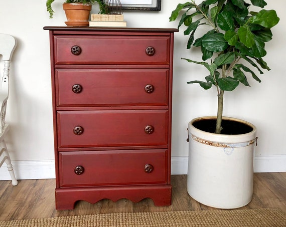 Rustic Red 4 Drawer Dresser - Distressed Furniture