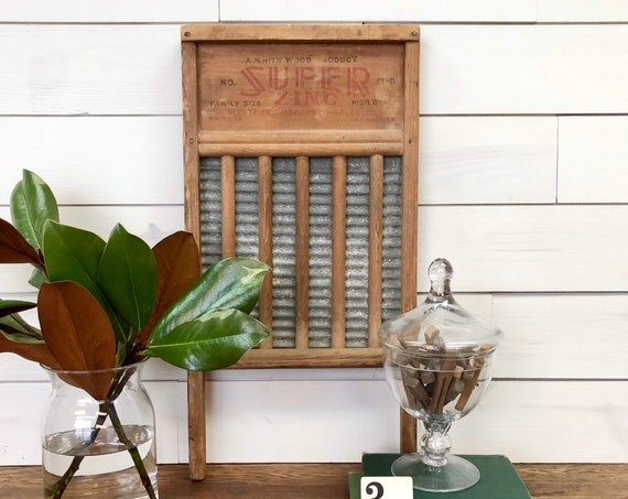 Wood and Metal Washboard - Farmhouse Laundry Fixer Upper Decor