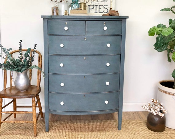 Antique Chest of Drawers - Rustic Farmhouse Decor - Painted Blue Dresser - Distressed Furniture