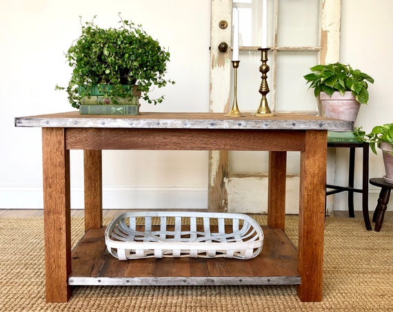 Reclaimed Wood Coffee Table - Industrial Farmhouse Furniture