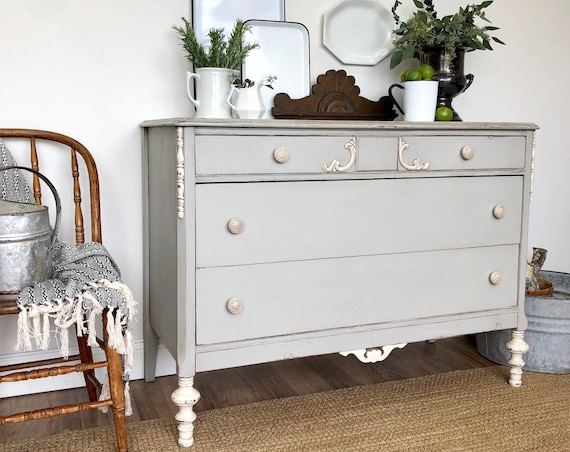 Shabby Chic Dresser - Farmhouse Furniture - Gray Chest of Drawers - Antique Painted Furniture