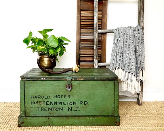 Small Coffee Table Storage Trunk - Distressed Furniture