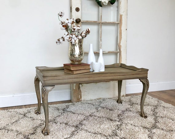 Small Gray Coffee Table - Antique Painted Furniture - Wooden Cocktail Table