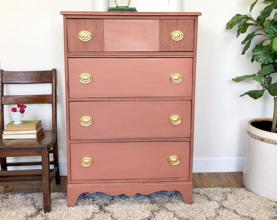 Small Vintage Dresser - Federal Style Furniture - Tall Dresser with Four Drawers - Baby Nursery Furniture