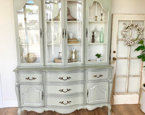 Green French Provincial China Hutch Country Furniture