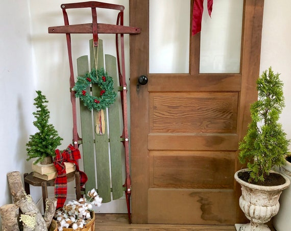Vintage Wooden Sled - Holiday Home Decor - Front Door Christmas Decor