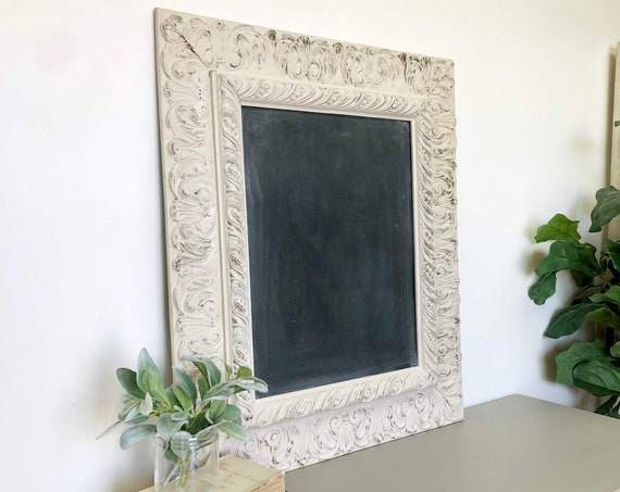 Large Vintage Wooden Framed Chalkboard - Ornate Wooden Frame - Dining Room Sign - Kitchen Chalkboard - Wedding Chalkboard Foyer Decor