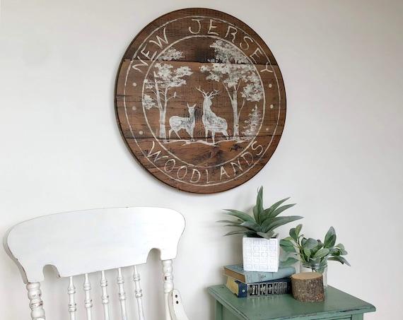 New Jersey Woodland Wall Art - Rustic Wood Sign - Fireplace Mantel Decor