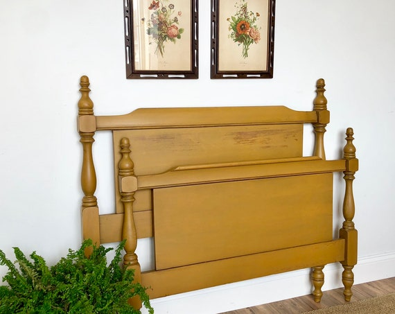 Antique Wooden Bed Frame - Yellow Headboard and Foot Board - Vintage Twin Size Bed