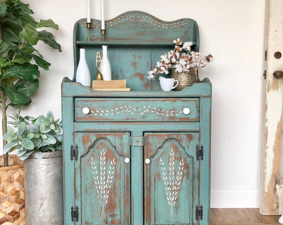 Green Farmhouse Hutch - Kitchen Coffee Station - Restored Furniture - Wooden China Cabinet - Painted Distressed Furniture