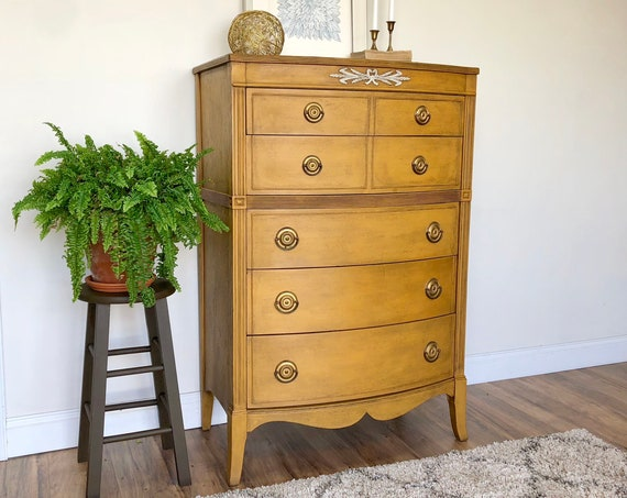 Rustic Yellow Dresser - Vintage Chest of Drawers - Antique Bedroom Furniture - Distressed Painted Dresser