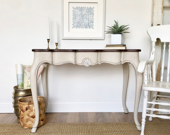 French Console Table Small Writing Desk or Makeup Desk Vanity or Dressing Table - Distressed Painted Furniture - Shabby Chic Desk