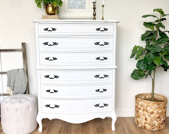 White Shabby Chic Dresser - Tallboy Chest of Drawers