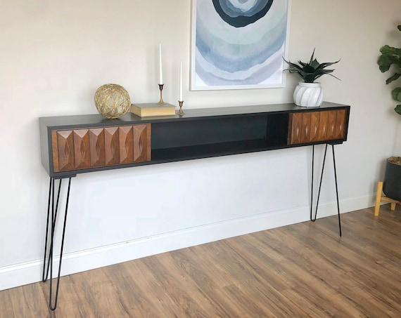 Mid Century Modern Console Table - 1960s Furniture use as TV Credenza or Bedroom Headboard - Painted Wooden Furniture
