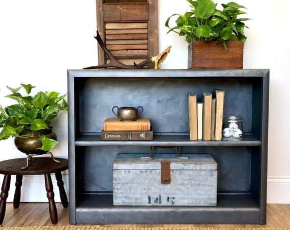 Small Blue Bookshelf - Unique Furniture - Industrial Chic