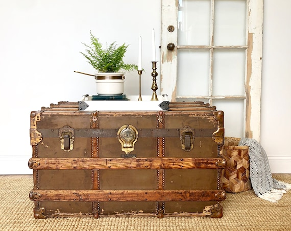 Antique Steamer Trunk - Unique Coffee Table
