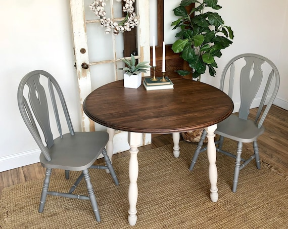 Round Table and Chairs - Farmhouse Furniture - Blue Dining Chairs - Drop Leaf Table - Round Table - Vintage Furniture