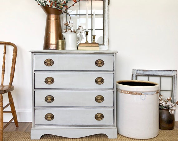 Gray Nightstand - Farmhouse Furniture - Small Chest of Drawers - Oversized Nightstand - Antique Painted Furniture