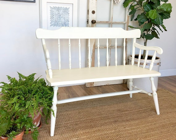 Small White Wooden Bench with Spindles - Entryway or Dining Table Bench - Distressed Painted Furniture