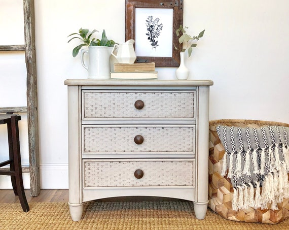 Farmhouse End Table with Neutral Color or Bedside Nightstand