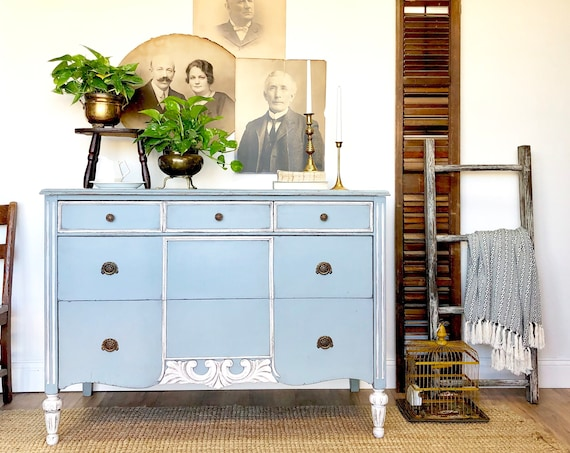 Blue Antique Dresser - Distressed Furniture