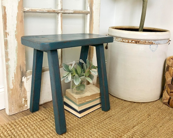 Small Blue Wooden Bench - Distressed Painted Furniture - Primitive Stool