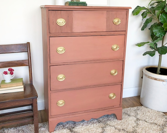 Small Vintage Coral Dresser Federal Style Furniture Tall Dresser with Four Drawers perfect for Baby Nursery Room Vintage Painted Furniture
