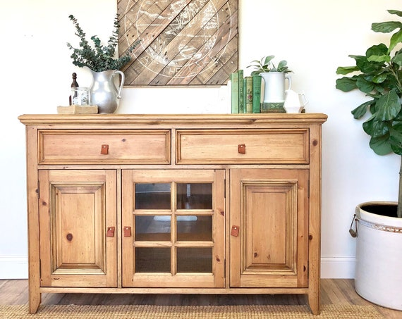 Wooden TV Media Console Cabinet - Rustic Home Furnishings