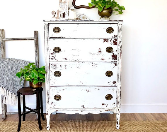 White Chippy Painted Tallboy Dresser - Rustic Home Decor
